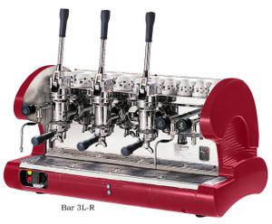 La Pavoni commercial Lever espresso machine 3 Groups Red