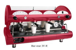La Pavoni commercial Volumetric espresso machine Bar Star 3 Groups Red