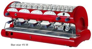 La Pavoni commercial Volumetric espresso machine Bar Star 4 Groups Red