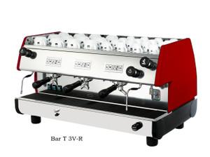 La Pavoni commercial Volumetric espresso machine Bar T 3 Groups Red