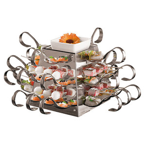 S/S Buffet Display with 24 Spoons & Skewers  , L 6.625 x W 6.625 x H 6.625