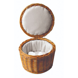 Fabric-lined Rattan Egg Basket -  10 1/8 Dia., L 10.125 x W 10.125 x H 6.625