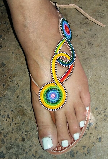 Cute colorful side-beads sandals
