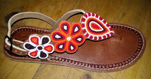 Flower design beaded sandals