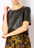 Veda Cropped Leather Tee