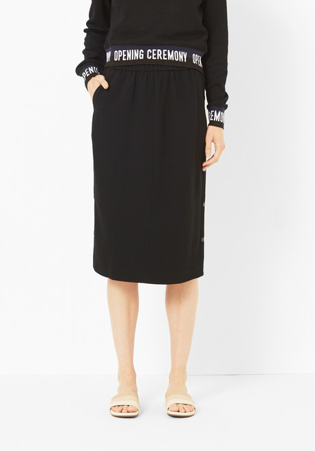 Tibi Black Side Snap Skirt
