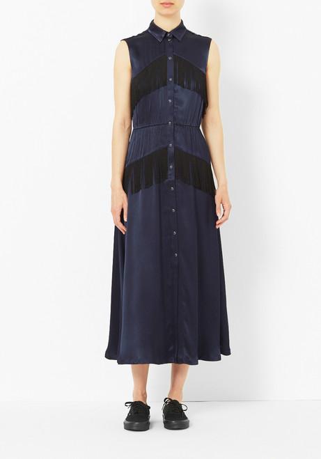 Ganni Donnelly Fringe Satin Dress