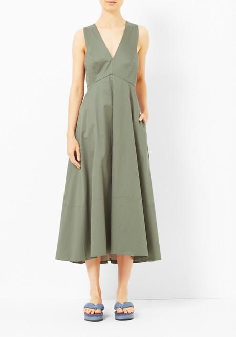 Tibi Cross Back Denali Green Dress