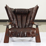 """41"""" W club chair italian dark brown polished leather solid exotic wood luxurious"""