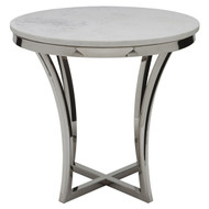 White marble, polished stainless Side Table