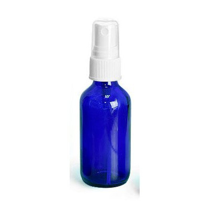 2 oz Cobalt Blue Glass Round with White Fine Mist Sprayer