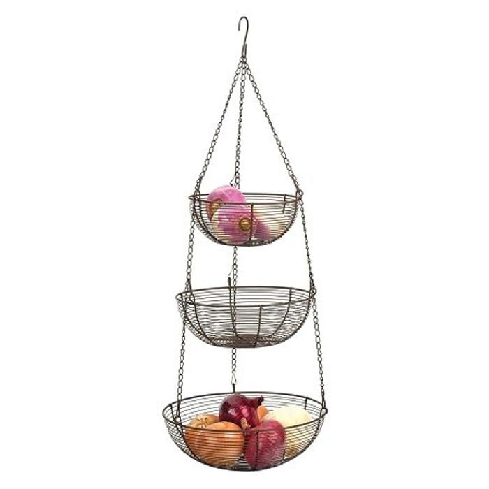 RSVP 3-Tier Hanging Baskets - Bronze Woven Wire