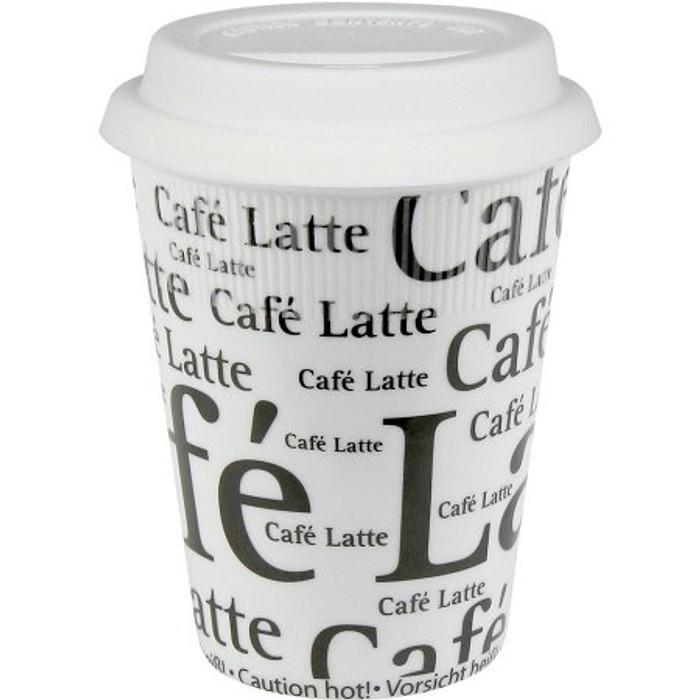Konitz Travel Mug - Small - Cafe Latte Writing - Black on White