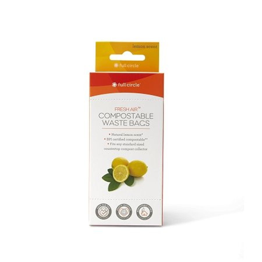 full circle fresh air lemon scented compostable waste bags 25 gallons95l 25 count