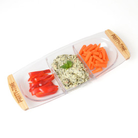 Snack Tray with Wood Handles