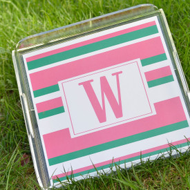 "Monogrammed Serving Tray 12""x12"" with Paper Insert"