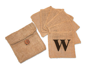 Monogrammed Burlap Coasters (6) in Burlap Pouch
