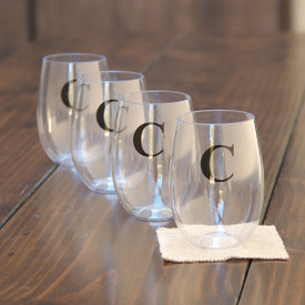 Monogrammed 16oz Plastic Beverage Glass 4 pack