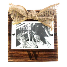 "Monogrammed Wood Frame with Burlap Bow 3.5""x5"" Picture"