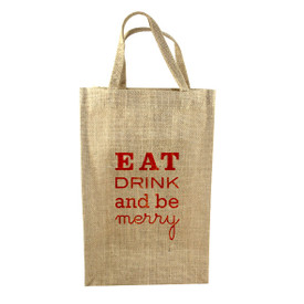 Holiday 2 Bottle Jute Tote