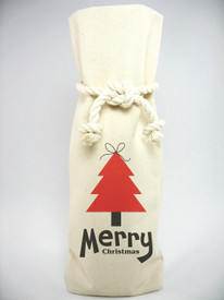 Holiday Canvas 1 Bottle Tote with Rope