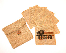 All American Burlap Coasters (6) in Burlap Pouch