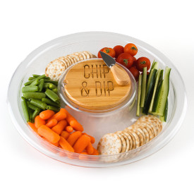 Chip & Dip Tray with Wooden Lid