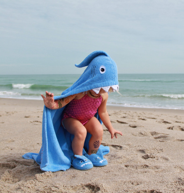 matching shark slippers and hooded towel for beach or pool