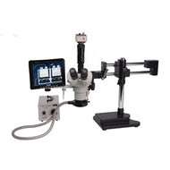 """26800B-110 , Aven Tools , VIS-750, SPZT-50 Stereo Zoom Microscope mounted on Dual Arm Stand with VGA 2M Color Camera, 8"""" Color Monitor, Flourescent Illumination"""
