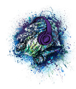 VDD Exclusive Gorilla Warfar - Purple Headphones