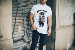 Diesel Life Logo Beanie Bulldog Mens T-Shirt