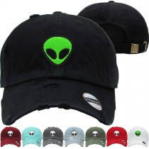 Alien Monster Dad Hat Distressed Baseball Cap  Free 1 Location Text