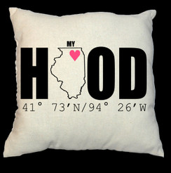 Home Hood 20 x 20 Zippered Cotton Pillow or 16 x 16 Version- My Hood or My Home