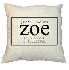 Name 20 x 20 Zippered Cotton Pillow or 16 x 16 Version- Name in a Box Design