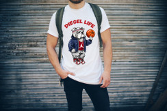 Diesel Life Logo Basketball Bulldog Mens T-Shirt