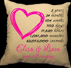 Heart 20 x 20 Zippered Cotton Pillow or 16 x 16 Version- Countdown of our Love Design