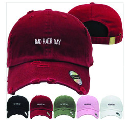 Bad Hair Dad Hat Distressed Baseball Cap  Free 1 Location Text