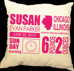 Baby 20 x 20 Zippered Cotton Pillow  or 16 x 16 Version - Birth Announcement Design