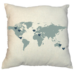 World 20 x 20 Zippered Cotton Pillow  or 16 x 16 Version- Family Map Design