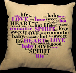 Heart 20 x 20 Zippered Cotton Pillow or 16 x 16 Version- Words of the Heart Design II