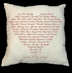 Heart 20 x 20 Zippered Cotton Pillow  or 16 x 16 Version- Words of the Heart Design