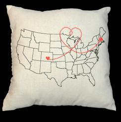 USA Map 20 x 20 Zippered Cotton Pillow or 16 x 16 Version- Love Map Design
