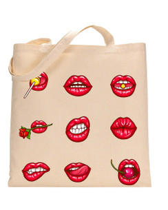 Tote Bag Lips, Cherry, Tote bag