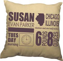 Pillow - Birth Announcement Design