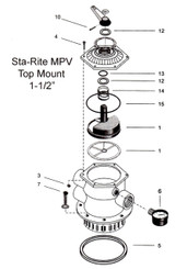 "MULTIPORT VALVE, TOP MOUNT, 1 1/2"", STA-RITE"
