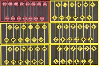 T8257 HO Tichy Train Group Modern Road Sign Assortment