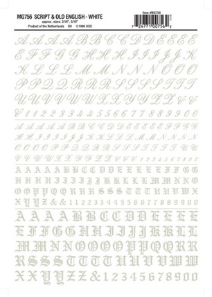 MG756 Woodland Scenics Co Dry Transfer Alphabet & Numbers - Railroad Script & Old English White