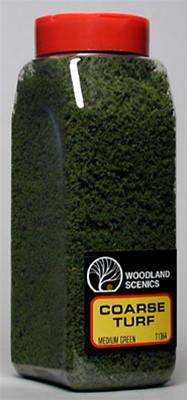 T1364 Woodland Scenics Coarse Turf Medium Green 32 oz