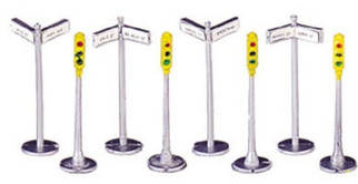 42207 Bachmann HO Signs & Traffic Lights (12 pieces)