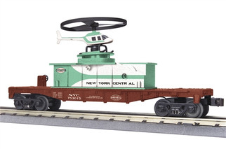 30-79456 O MTH RailKing Flat Car w/Operating Helicopter-New York Central